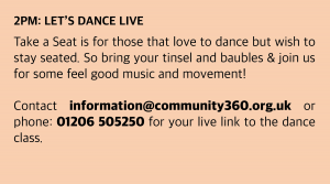 Thursday, 10 December 2020 : 2pm: Let's Dance Live Take a Seat is for those that love to dance but wish to stay seated. So bring your tinsel and baubles & join us for some feel good music and movement! Classes start at 2pm. Don't be late! Join Zoom Meeting click this box and then enter the meeting ID and passcode or follow https://zoom.us/j/91725856739?pwd=OUxjQzRiRm0zY3ZYbUg0N05ZSjZ4UT09 Meeting ID: 917 2585 6739 Passcode: 982019