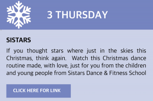 Sistars If you thought stars where just in the skies this Christmas, think again.  Watch this Christmas dance routine made, with love, just for you from the children and young people from Sistars Dance & Fitness School. Click this box to be taken to the link.