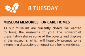 "As our museums are currently closed, we wanted to bring the museums to you! The PowerPoint presentation shares some of the objects and displays in the museums, which will hopefully prompt some interesting discussions amongst care home residents. There are also a couple of artistic activity suggestions for residents to try, inspired by the painting ""Walton Bridges"" by JWM Turner, currently on display at Colchester Castle. Click this box to be taken to the site or visit https://colchester.cimuseums.org.uk/carehomeadvent/"